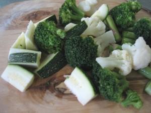 Овощи с гребешком